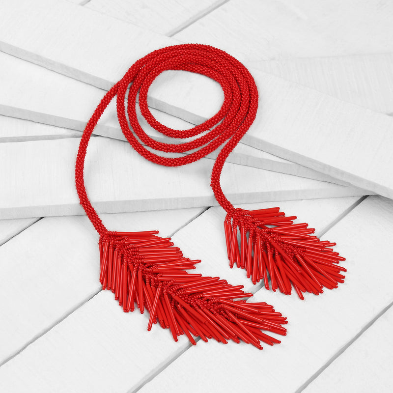 Deepa by Deepa Gurnani Handmade Wrylee Necklace in Red on Wood Background
