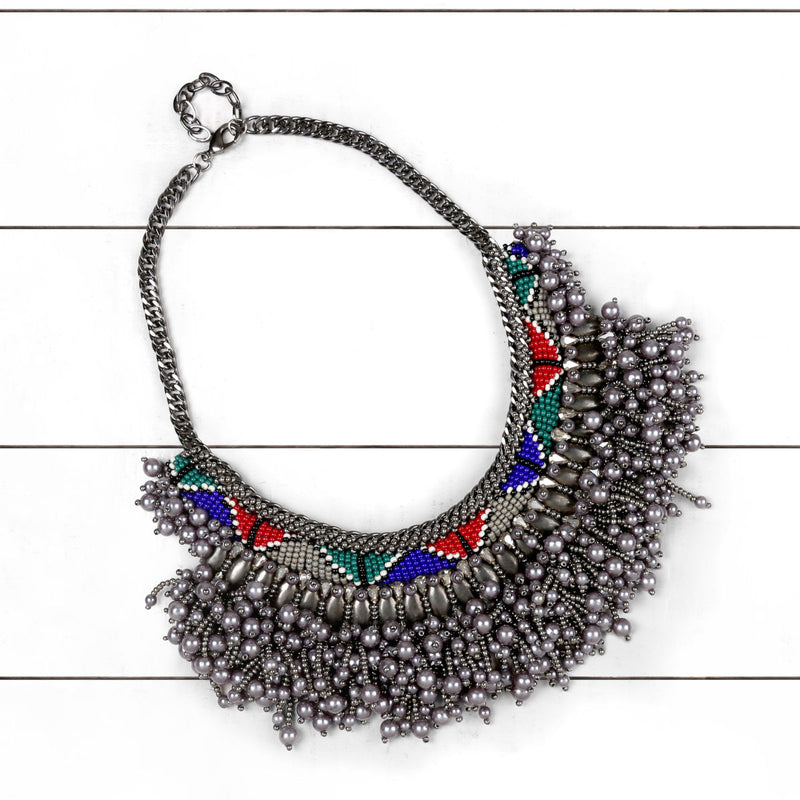 Deepa by Deepa Gurnani Handmade Wendi Necklace Gun on Wood Background