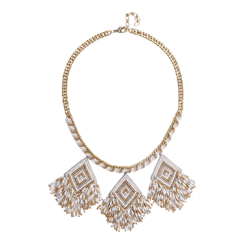 Deepa by Deepa Gurnani Handmade Beaded  Necklace with Embroidered Pendants