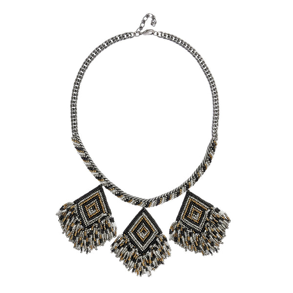 Deepa by Deepa Gurnani Handmade Beaded  Necklace with Embroidered Pendants in Black