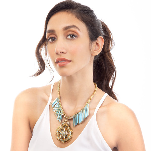 Deepa by Deepa Gurnani Handmade Helene Necklace in Aqua