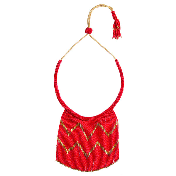 handmade red beaded necklace