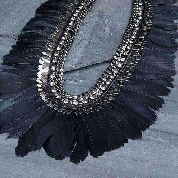 Deepa Gurnani Handmade Blanca Luxe Statement Necklace on Slate Background