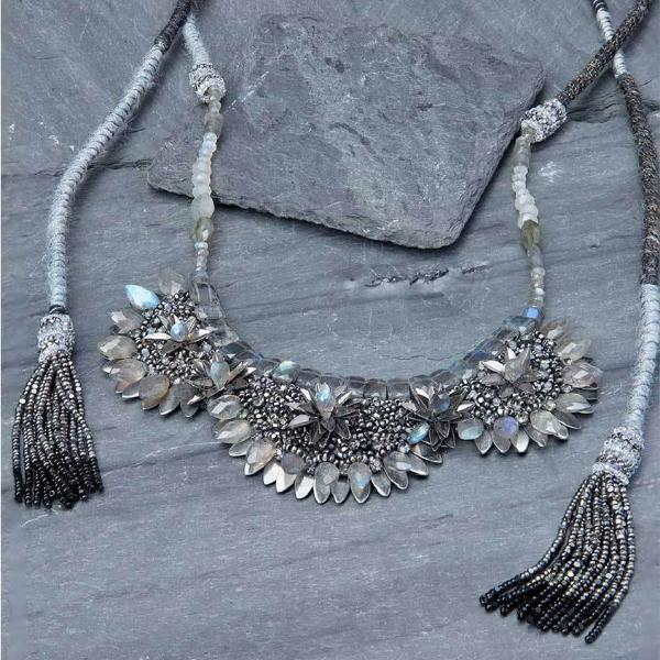 Deepa Gurnani Handmade Devin Luxe Necklace on Slate Background