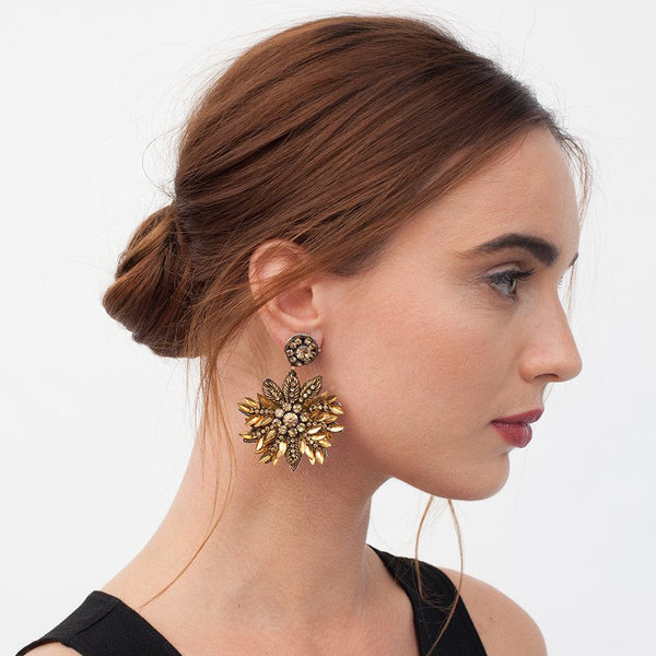 Model Wearing Deepa Gurnani Handmade Pandora Earrings in Gold