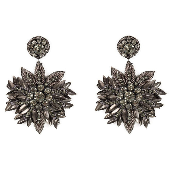 Deepa Gurnani Handmade Pandora Earrings in Gunmetal
