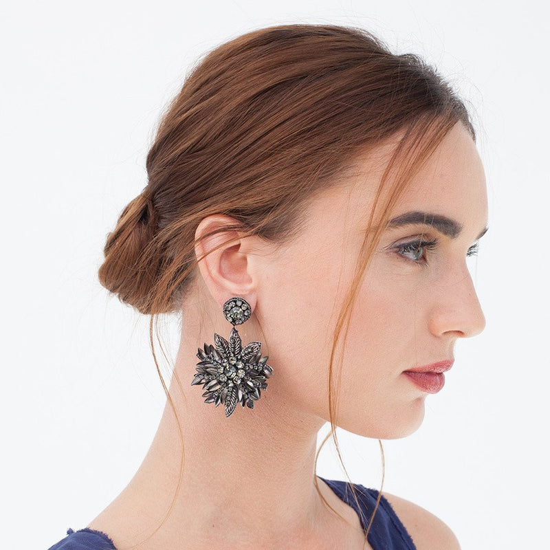 Model Wearing Deepa Gurnani Handmade Pandora Earrings in Gunmetal