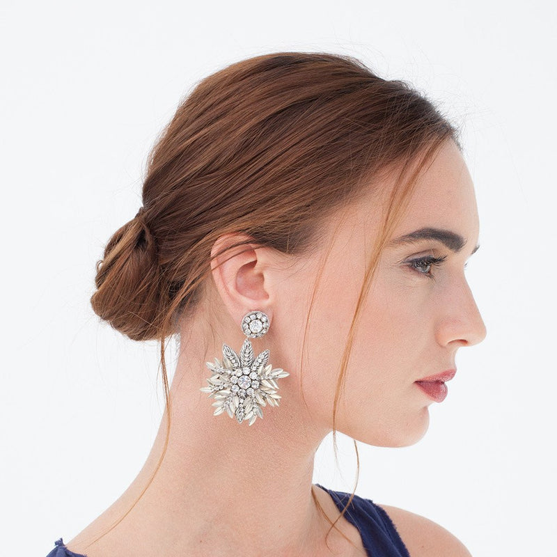 Model Wearing Deepa Gurnani Handmade Pandora Earrings in Silver