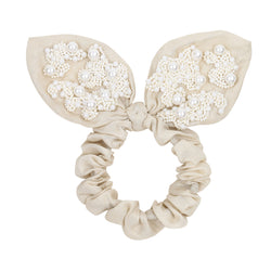 Handmade scrunchie embroidered with pearls