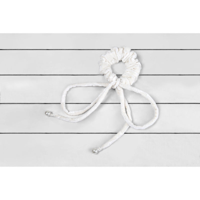 Deepa by Deepa Gurnani Maryellen Bow Scrunchie Ivory on Wood Background
