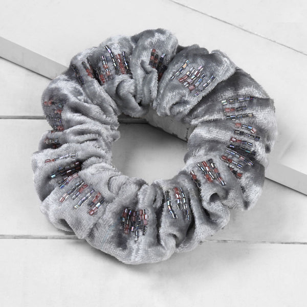 Deepa by Deepa Gurnani Rhonda Scrunchie Grey on Wood Background