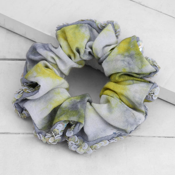 Deepa by Deepa Gurnani Oasis Scrunchie Yellow on Wood Background