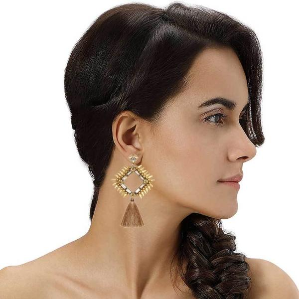 Model Wearing Deepa by Deepa Gurnani Handmade Priya Earrings Gold