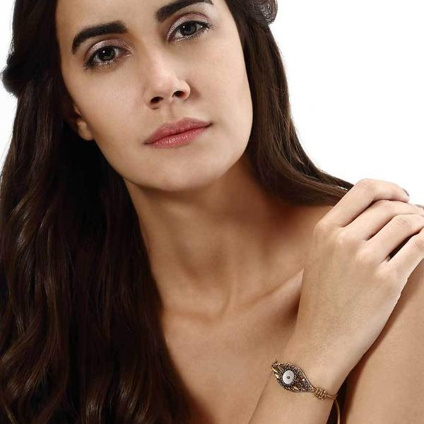 Model Wearing Deepa by Deepa Gurnani Handmade Patti Bracelet in Gold
