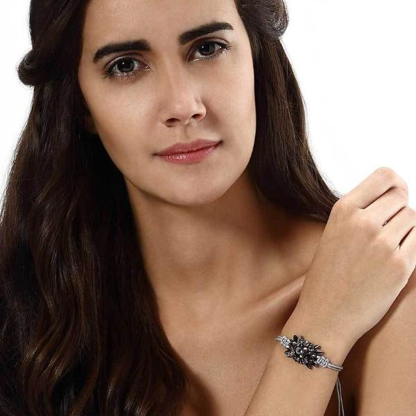 Model Wearing Deepa by Deepa Gurnani Handmade Mckayla Bracelet in Gray