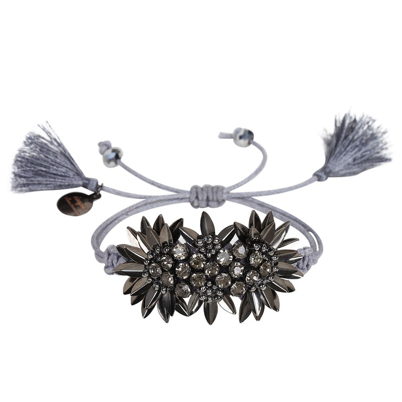 Deepa by Deepa Gurnani Handmade Zada Adjustable Cord Bracelet in Gunmetal