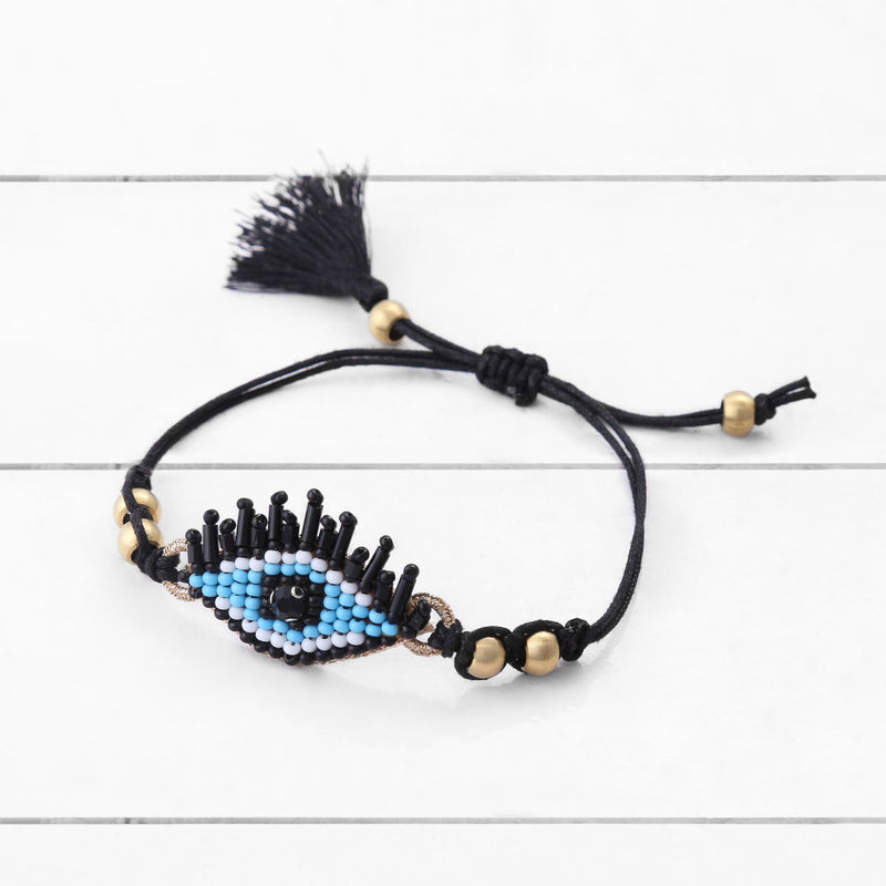 Deepa by Deepa Gurnani Handmade Yuri Bracelet Blue on Wood Background