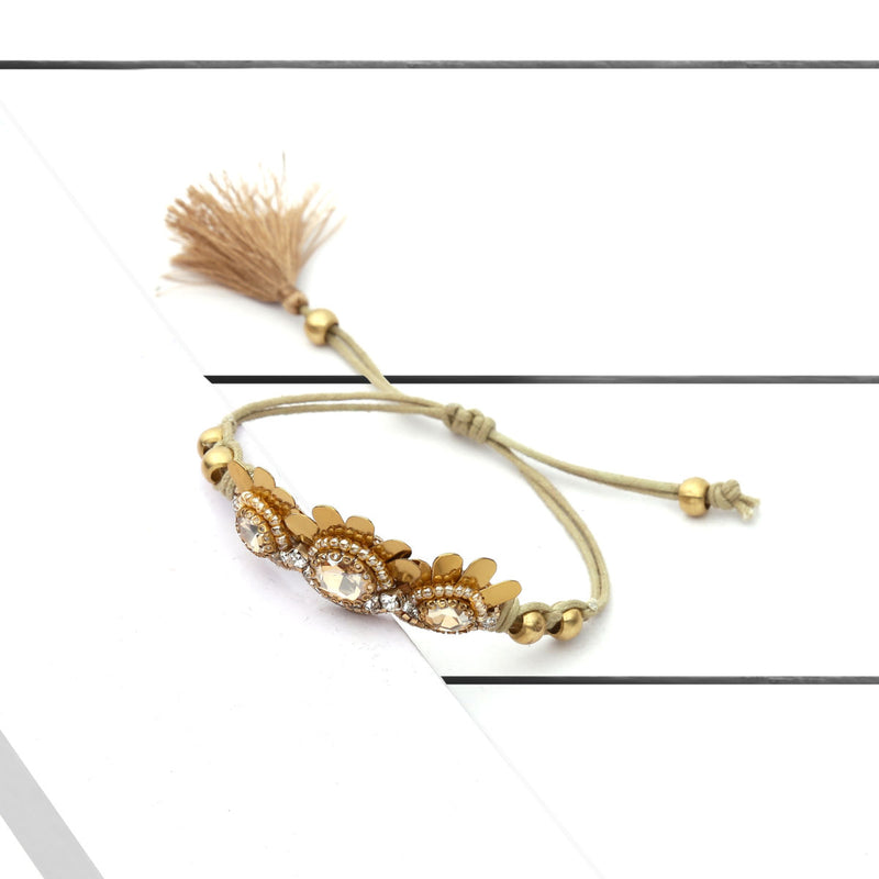 Deepa by Deepa Gurnani Handmade Tahani Bracelet Gold on Wood Background