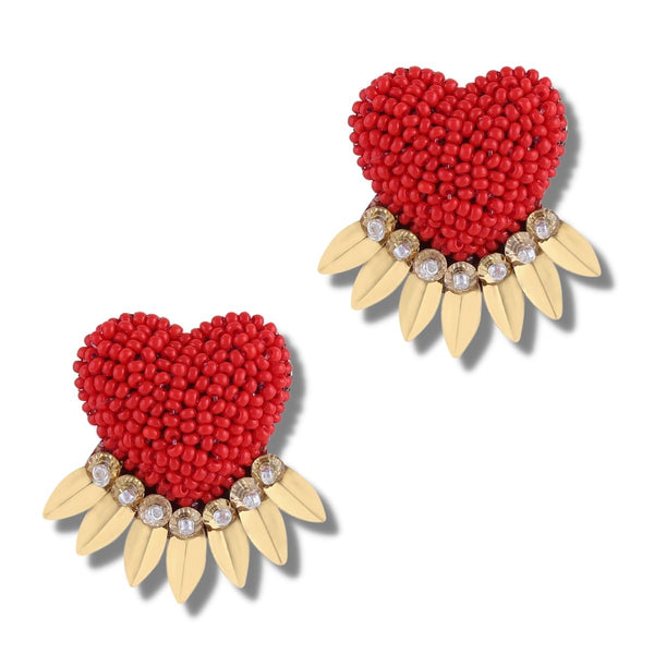 Red heart love earrings