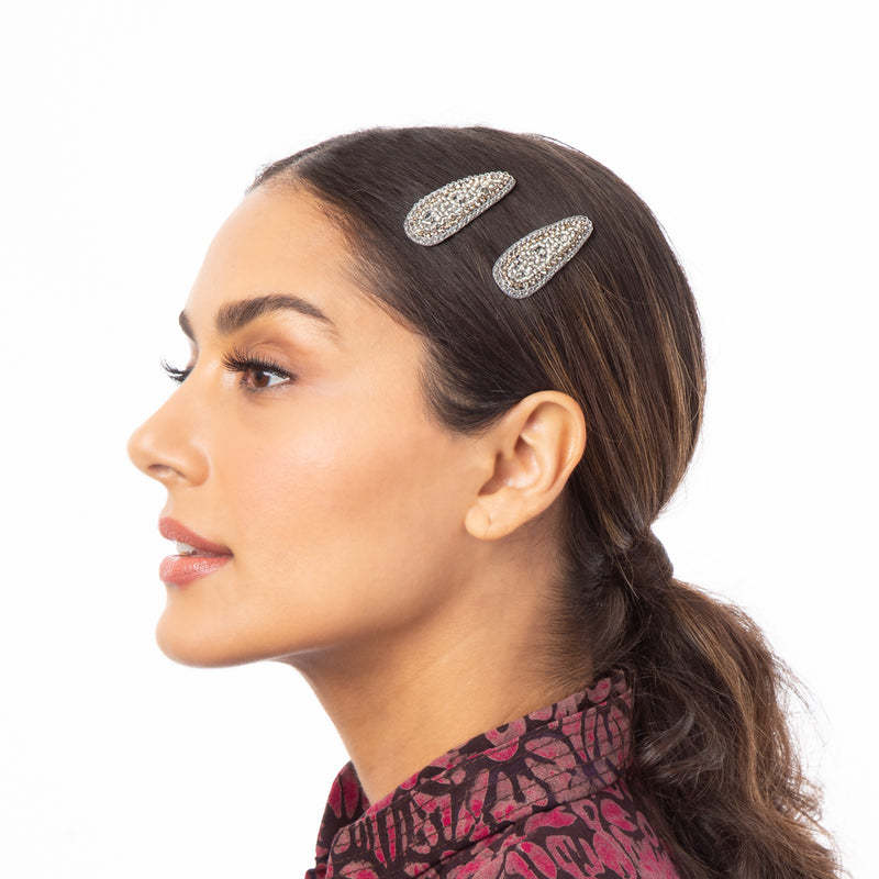 Hand Embroidered Hair Clips by Deepa Gurnani