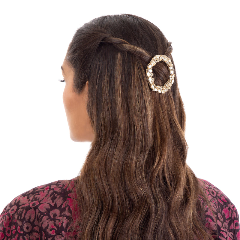 Dar hair clip with hand embroidered gold crystals