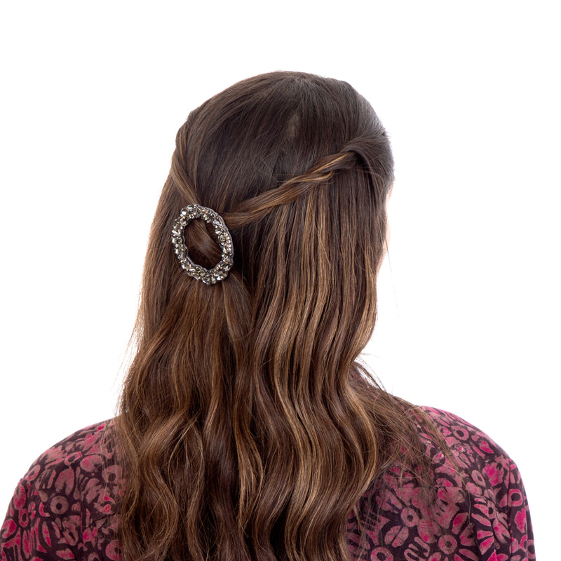 Dar hair clip with hand embroidered gunmetal crystals