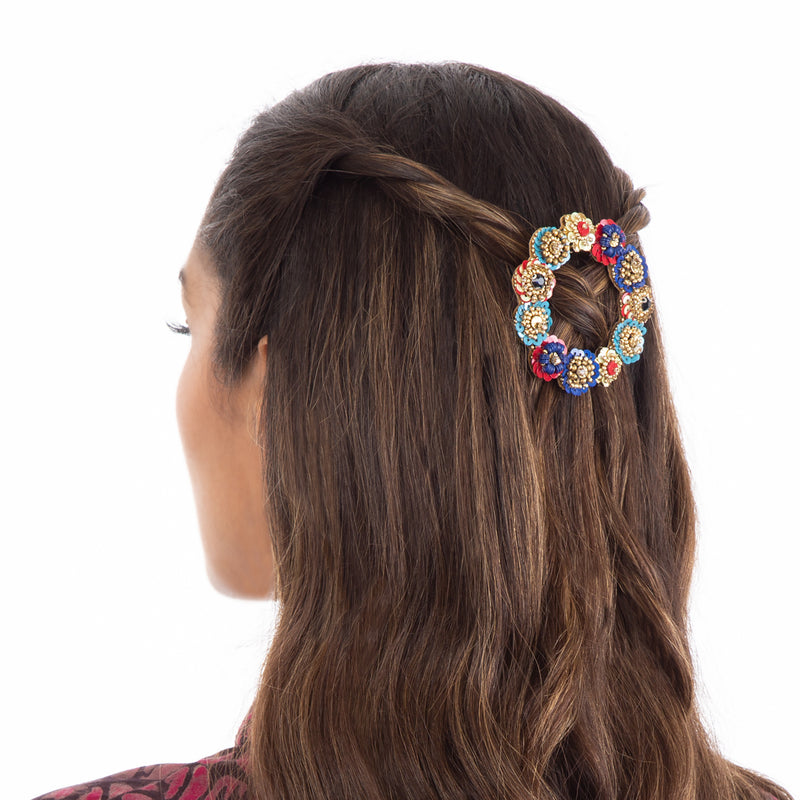 Large multi color open hair clip