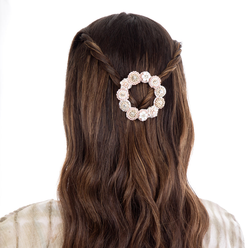 Large floral open hair clip