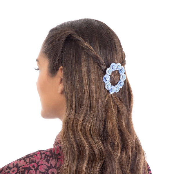 Powder Blue Adalia hair clip with floral patterns
