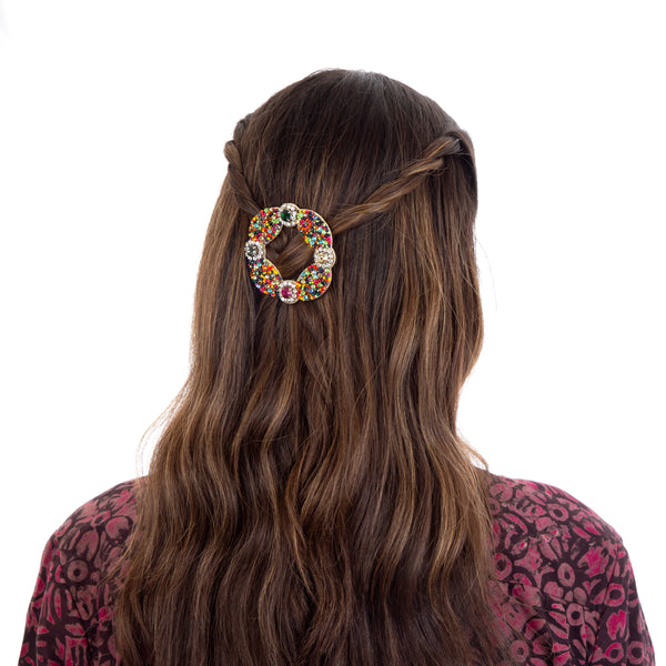 Multi color hand embroidered crystal hair clip