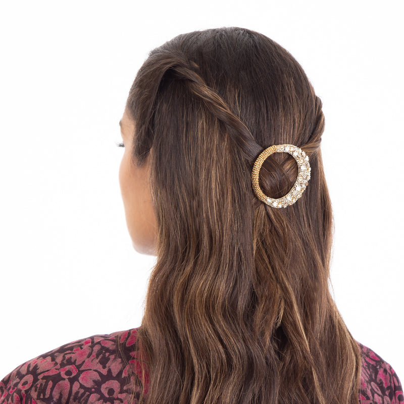 Large round hair clip with crystal embroidery