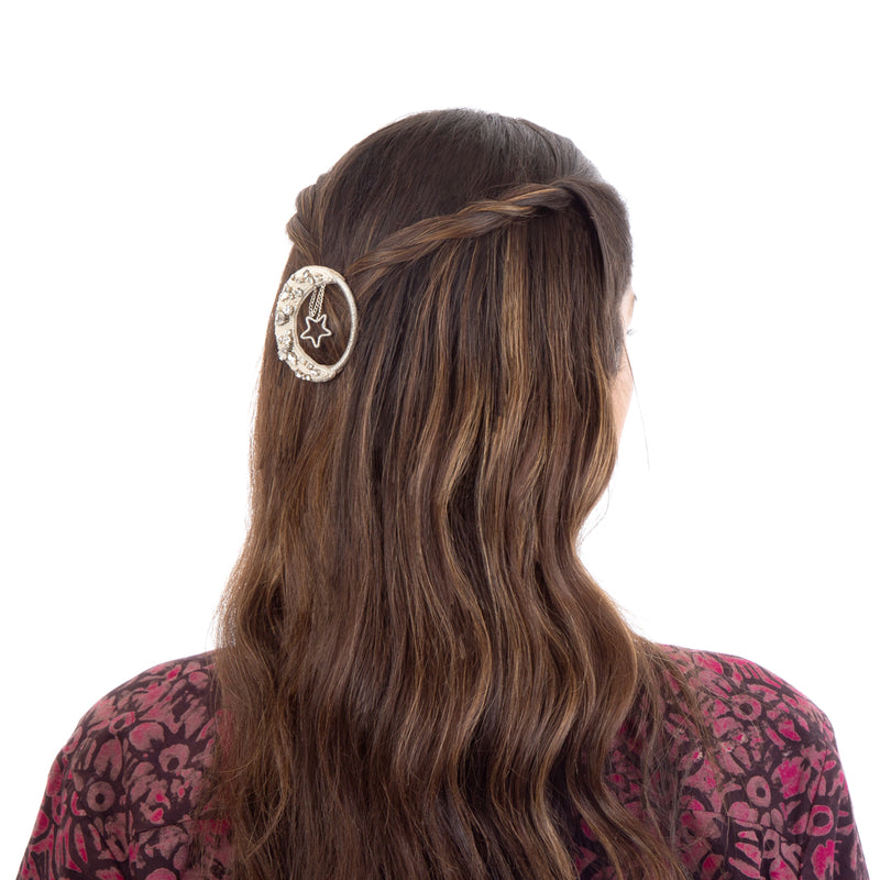 Hair clip with moon and star design