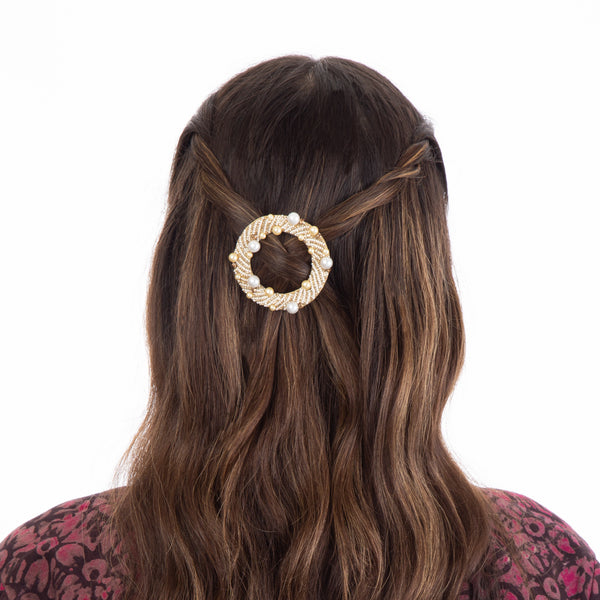 Hair clip with hand embroidered pearls
