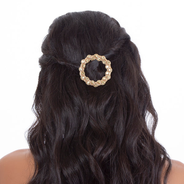 model wearing handmade gold beaded open hair clip