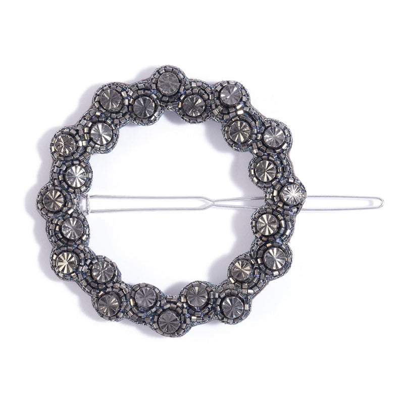 handmade gunmetal beaded open hair clip