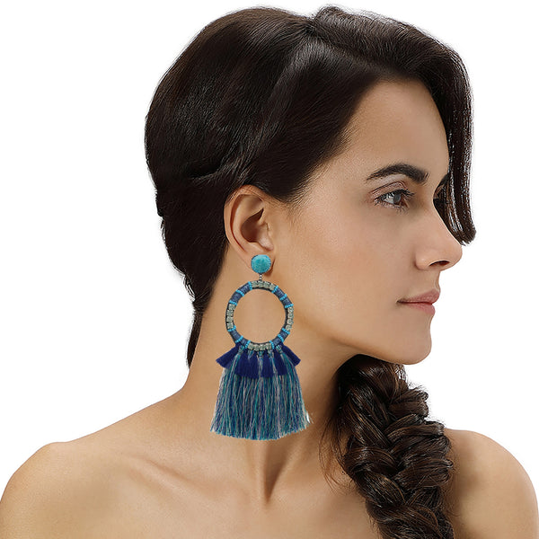 Navy Statement Earrings