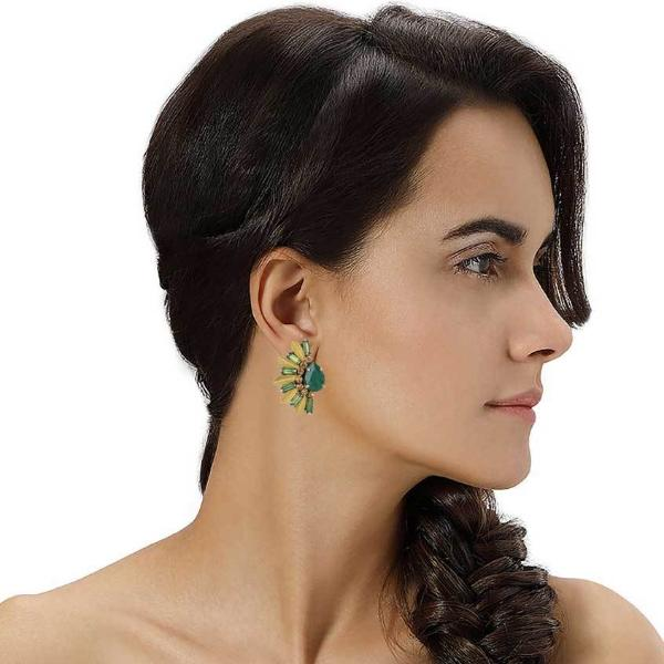 Model Wearing Deepa by Deepa Gurnani Handmade Sheilah Earrings in Emerald