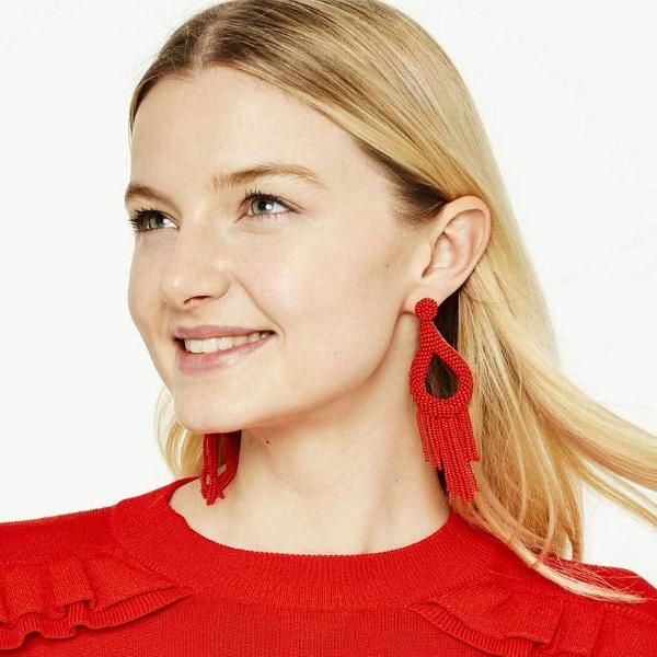 Model Wearing Deepa by Deepa Gurnani Handmade Stella Earrings in Red