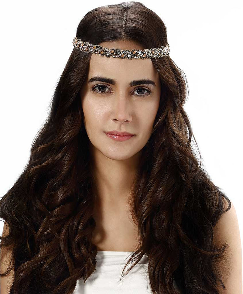 Model Wearing Deepa by Deepa Gurnani Handmade Demi Headband in Gold