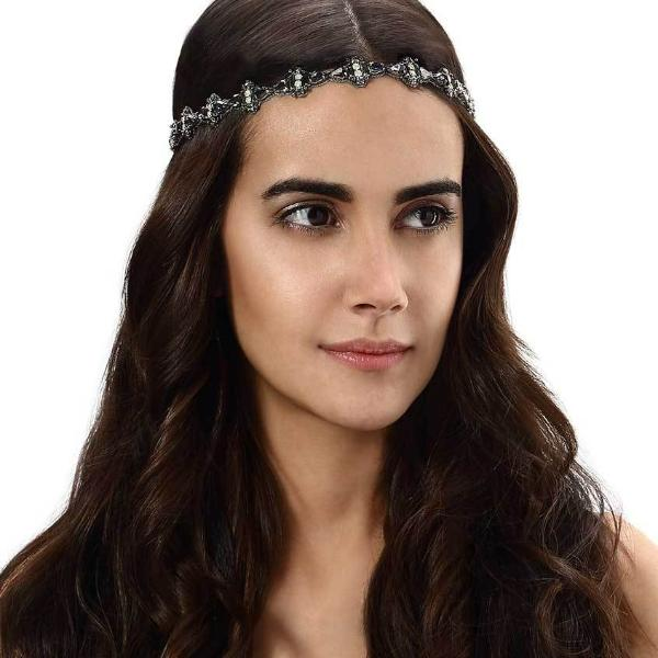 Model Wearing Deepa by Deepa Gurnani Handmade Alicia Headband in Gunmetal