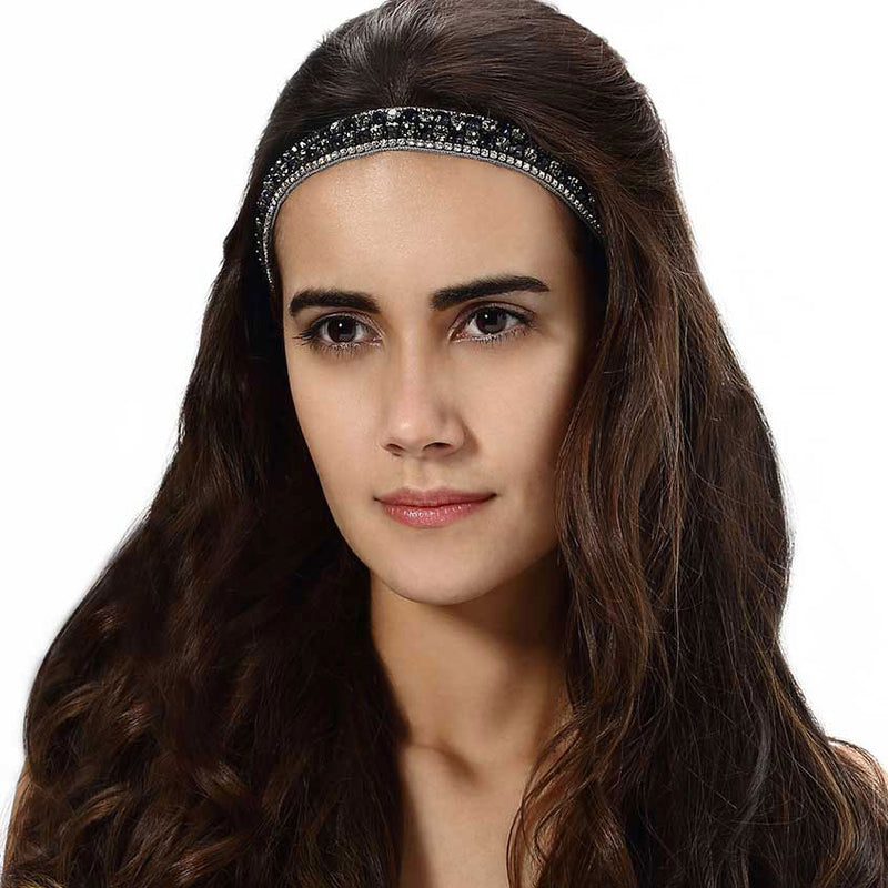 Model Wearing Deepa by Deepa Gurnani Handmade Miranda Headband in Gunmetal
