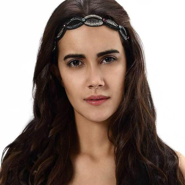 Model Wearing Deepa by Deepa Gurnani Handmade Sammy Headband in Black