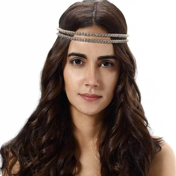 Model Wearing Deepa by Deepa Gurnani Handmade Carol Headband in Gold