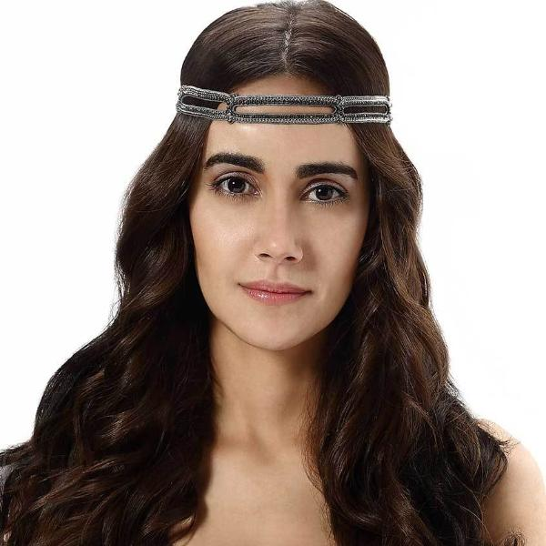 Model Wearing Deepa by Deepa Gurnani Handmade Royale Headband in Gunmetal