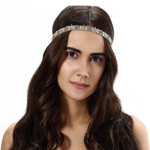 Model Wearing Deepa by Deepa Gurnani Handmade Lanee Headband in Gold