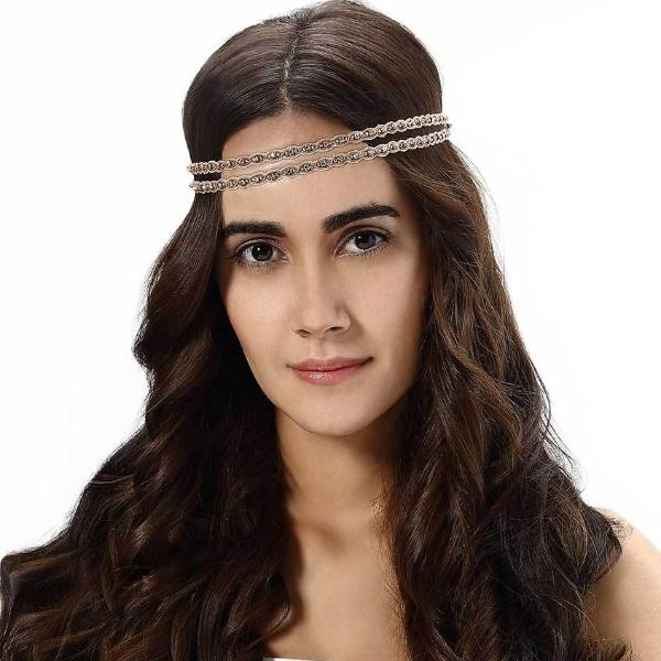 Model Wearing Deepa by Deepa Gurnani Handmade Halzey Headband in Rose Gold