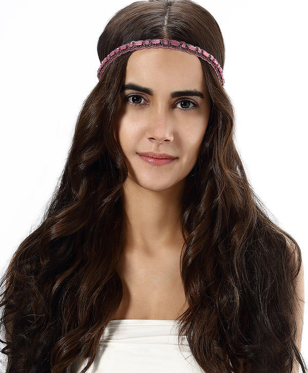 Model Wearing Deepa by Deepa Gurnani Handmade Olive Headband in Purple