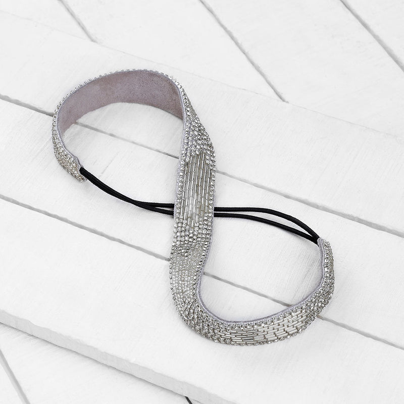 Deepa by Deepa Gurnani Handmade Marlee Headband in Silver on Wood Background