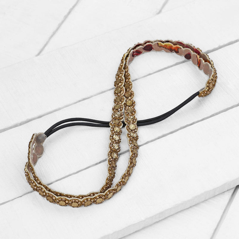 Deepa by Deepa Gurnani Handmade Tillie Headband in Gold on Wood Background