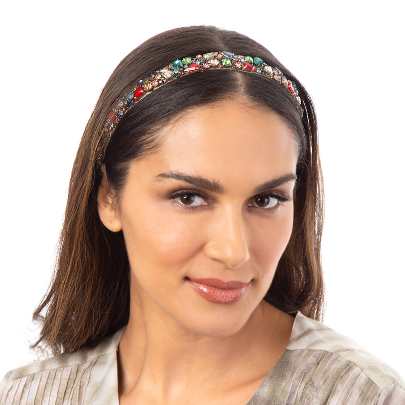 Multi color crystal headband